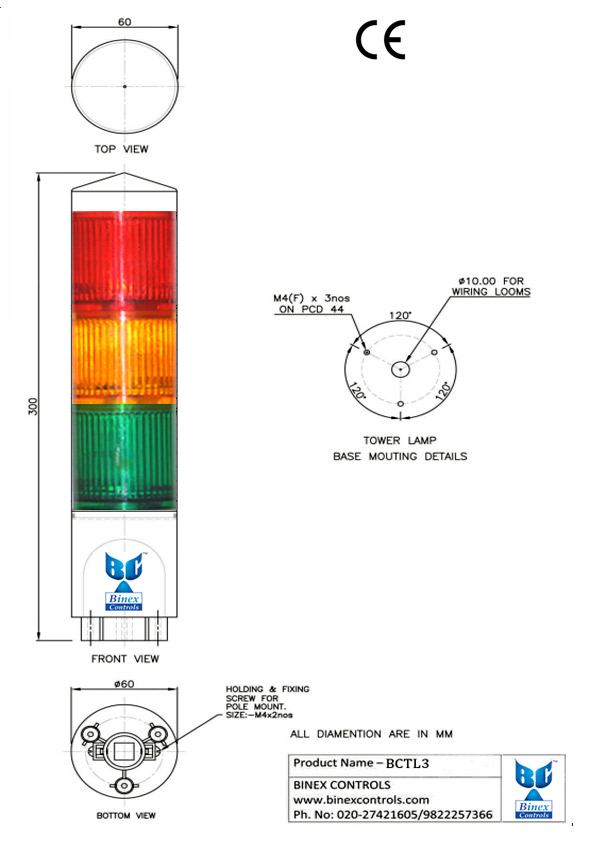 dimensional diagram of 3 led tower lamps